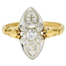Art Deco Diamond 14 Karat Two-Tone Gold Dinner Ring