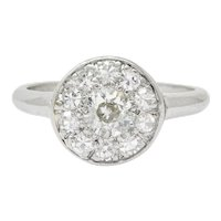 Art Deco Diamond Platinum Cluster Ring Circa 1930