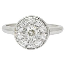 Art Deco Diamond Platinum Cluster Ring Circa 1930