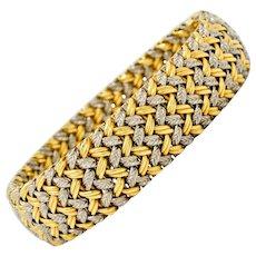 1989 French Vintage 18 Karat Gold Woven Bracelet