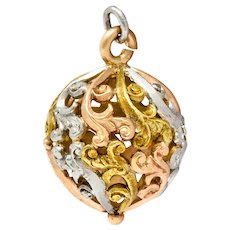 Art Nouveau 14 Karat Tri-Colored Gold Filigree Ball Charm
