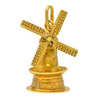 Retro 18 Karat Gold Articulated Dutch Windmill Charm