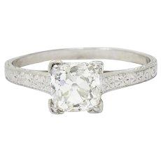 Art Deco 1.08 CTW Old Mine Diamond Platinum Engagement Ring GIA