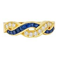 Tiffany & Co. Sapphire Diamond 18 Karat Gold Interlaced Band Ring