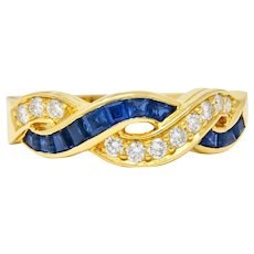 Tiffany & Co. Sapphire Diamond 18 Karat Gold Interlaced Band Ring