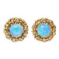 Victorian Opal Diamond 14 karat Gold Cluster Stud Earrings
