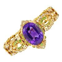 Suffragette Amethyst Demantoid Garnet Diamond 18 Karat Gold Decorous Bracelet