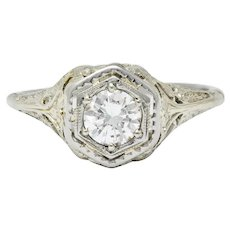 Early Art Deco 0.41 CTW Diamond 18 Karat Gold Lovebird Engagement Ring