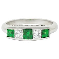 Contemporary 1.07 CTW Diamond Tsavorite Platinum Five Stone Ring