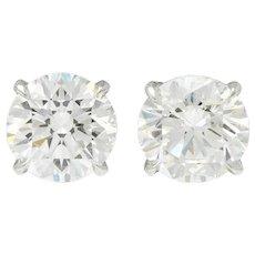 Exquisite 5.04 CTW Diamond Platinum Stud Earrings GIA