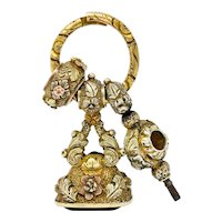 Victorian Citrine 14 Karat Tri-Colored Gold Watch Key Fob Pendant