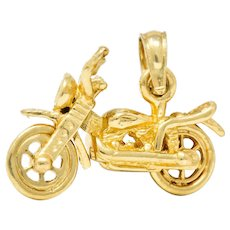 Retro 14 Karat Gold Articulated Motorcycle Charm