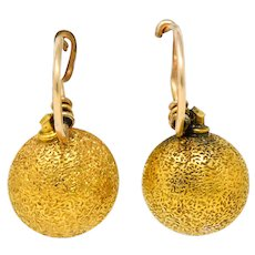 1880 Victorian 14 Karat Gold Stippled Ball Drop Earrings