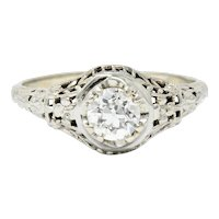 1920's Art Deco 0.65 CTW Diamond 18 Karat Gold Foliate Engagement Ring