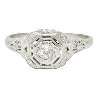 Edwardian Diamond 18 Karat White Gold Engagement Ring