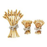 Verdura Retro Diamond 14 Karat Gold Wheat Earrings & Brooch