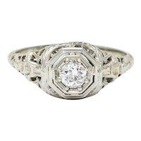 Late Edwardian Diamond 18 Karat White Gold Engagement Ring