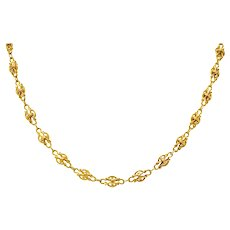 Victorian 18 Karat Gold 29 Inch Long Chain Necklace Circa 1900
