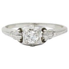 Granat Bros. Diamond Platinum Engagement Ring Circa 1930s