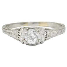 1920's Art Deco 0.38 CTW Old European Diamond Foliate Engagement Ring