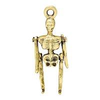 Sloan & Co. Art Nouveau 14 Karat Gold Articulated Skeleton Charm
