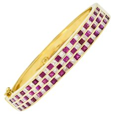 Modern 9.10 CTW Ruby Diamond 18 Karat Gold Bangle Bracelet