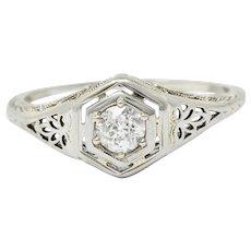 Belais Early Art Deco 0.26 CTW Diamond 18 Karat White Gold Floral Engagement Ring