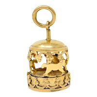 1950's Mid-Century 14 Karat Gold Rotating Carousel Charm