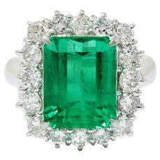 Vivid 7.70 CTW Colombian Emerald Diamond Platinum Cluster Ring GIA