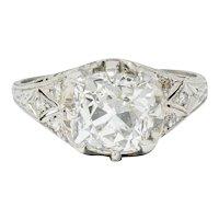 Art Deco 3.16 CTW Diamond Platinum Engagement Ring GIA