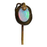 Victorian Opal 14 Karat Gold Snake Stickpin Circa 1900