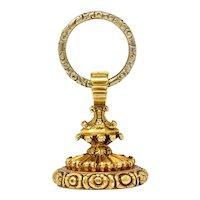 1900 Victorian Bloodstone 14 Karat Gold Foliate Fob Pendant