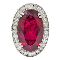 Contemporary 24.00 CTW Rubellite Diamond 18 Karat White Gold Statement Ring