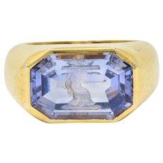Vintage 13.10 CTW Color-Change No Heat Sapphire Intaglio 22 Karat Gold Signet Ring GIA
