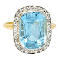 J.E. Caldwell Edwardian Large Aquamarine Diamond Platinum-Topped Cluster Ring