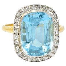 J.E. Caldwell Edwardian Large Aquamarine Diamond Platinum-Topped Cluster Ring