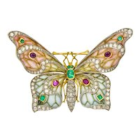 Substantial Art Nouveau Diamond Emerald Ruby Plique-A-Jour Enamel 18 Karat Gold Butterfly Pendant Brooch
