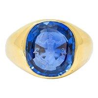 Tiffany & Co. No Heat Ceylon Sapphire Intaglio 18 Karat Gold Hercules Signet Ring AGL