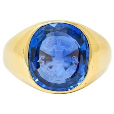Tiffany & Co. No Heat Ceylon Sapphire Intaglio 18 Karat Gold Hercules Signet Ring AGL