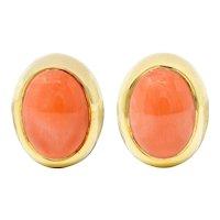 Gump's 1960's Vintage Coral Cabochon 18 Karat Gold Earrings