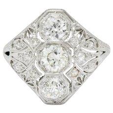 Art Deco 1.60 CTW Diamond Platinum Three Stone Dinner Ring