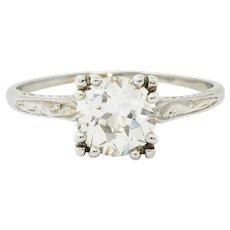 Art Deco 1.30 CTW Diamond 20 Karat White Gold Engagement Ring GIA