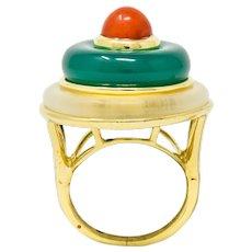 Vintage Coral Chrysoprase Rock Crystal 18 Karat Gold Circle Ring
