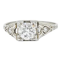 Wheeler & Co. Art Deco Diamond 18 Karat White Gold Engagement Ring GIA