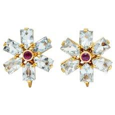 Tiffany & Co. Retro 6.20 CTW Aquamarine Ruby 14 Karat Gold Flower Screwback Earrings