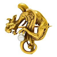 Art Nouveau Baroque Pearl 14 Karat Gold Gargoyle Brooch Watch Pin