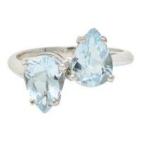 Retro 3.00 CTW Aquamarine 14 Karat White Gold Bypass Ring