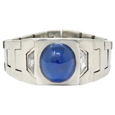 Art Deco 3.50 CTW Sapphire Diamond Platinum Link Unisex Ring