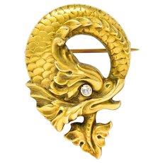 Art Nouveau Diamond 14 Karat Gold Sea Serpent Brooch