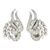 1950's Mid-Century 2.62 CTW Diamond Platinum Tendril Earrings